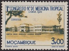 Stamp: Miguel Bombarda Hospital in Lourenco Marques (Mozambique) (First Congress of Tropical Medicine) Mi:MZ 383 Tropical, Maputo, African Animals, Portuguese, Colonial, Jazz, Portugal, Stamps, Bands