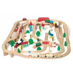 Circuit de train en bois avec accessoires de 140 pièces