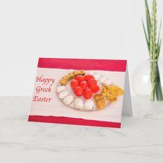 Shop Happy Greek Easter With Greek Cookies Card created by Daphsam. Greek Cookies, Sugar Cookies, Easter Cookies, Holiday Wishes, Holiday Cards, Orthodox Easter, Greek Easter, Easter Celebration, Card Sizes
