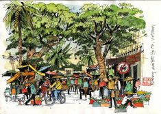 Impressions of Vietnam: An Overview   Urban Sketchers - good use of darks - do this more!