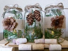 Rustic Burlap and Pine Cone Mason Jar Center Piece by PeakChic, $24.00