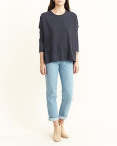 At Note Boxy Top in Faded Black