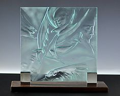 "Four Faces by Susan Bloch (Art Glass Sculpture) (12"" x 15"")"