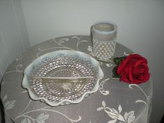 Hobnail Vintage Moonstone Opalescent Glass Divided Relish Dish, Scalloped Edge