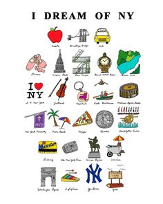 I Dream of NY (ABC's)- 8x10 Illustration Print by CocoDraws via Etsy.