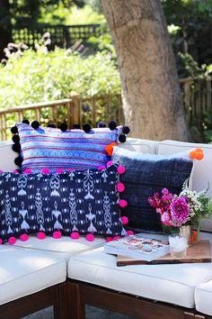 Pom Pom Pillows DIY Pom Pom Pillows-I could probably pick up some pom pom trim from Joann's to save a little time.DIY Pom Pom Pillows-I could probably pick up some pom pom trim from Joann's to save a little time. Diy Pillows, Decorative Pillows, Cushions, Bright Pillows, Glam Pillows, Pom Pom Bag Charm, Pom Pom Maker, Pom Pom Trim, Home And Deco