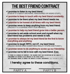 Printable Friendship Contracts | Printable Friendship Contract Coloring Pages of Friendship Day