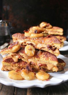 Peanut Butter and Bacon French Toast with Caramelized Bananas via domesticate-me.com