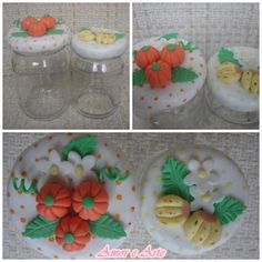 Vidros com frutinhas decorados em bisucit