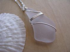 Purple Sea Glass Pendant Wire Wrapped Beach Glass Necklace Sea