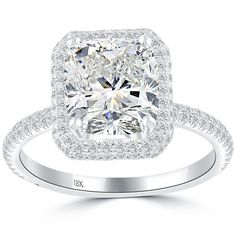 3.98 Carat H-SI2 Cushion Cut Natural Diamond Engagement Ring 18k Gold Pave Halo #DiamondEngagementRing