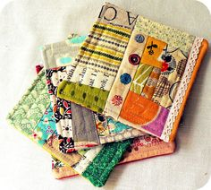 Patchwork coasters. Would be great for Mug Rugs too. For inspiration.