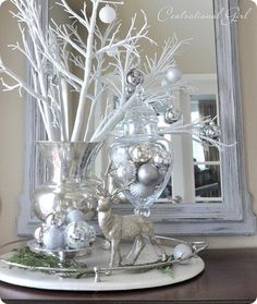 shimmering silver/white arrangement