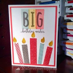 """""""iMakeCards....stampin up layered letters alphabet, build a birthday stamp sets handmadecards birthday cards #glossyaccents"""" Photo taken by @georgieluvsmum on Instagram, pinned via the InstaPin iOS App! http://www.instapinapp.com (06/22/2015)"""