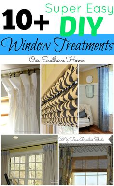 DIY - Hazlo tu mismo - Super Easy Window Treatments from no-sew to minimal sewing via Our Southern Home Home Projects, Home Crafts, Diy Home Decor, Decor Crafts, Craft Projects, Window Coverings, Window Treatments, Diy Curtains, Living At Home