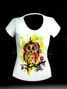 Tricou bufnita ZazA (70 LEI la ArtRALU.breslo.ro) Lei, Paintings, V Neck, How To Wear, T Shirt, Tops, Women, Fashion, Supreme T Shirt
