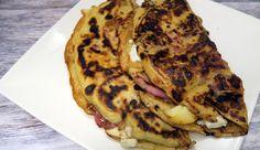 Pannenkoeken met geitenkaas, spek, appel, honing