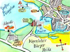 Hand illustrated Map, Landkarte handgezeichnet. Berlin Hand Illustration, Illustrator, Central Europe, Me On A Map, Maps, How To Draw Hands, Inspiration, Illustrated Maps, Further Education