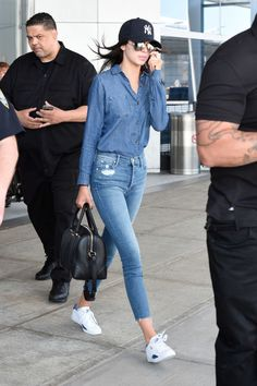 At JFK airport. See all of Kendall Jenner's best looks.