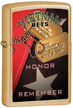 Vietnam Veterans ~ Honor and Remember ~ Brushed Brass Military Zippo Lighter Cool Lighters, Cigar Lighters, Vietnam Veterans, Vietnam War, Zippo Limited Edition, Zippo Collection, Zippo Lighter, Cigarette Case, Badges