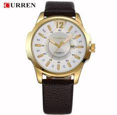 CURREN casual quartz watch men large dial waterproof chronograph releather wrist watch relojes 8123