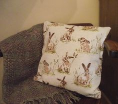 Hare cushionhare pillowhare fabriclinen by heARTofNatureStudio