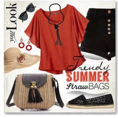 Trendy Summer: Straw Bags by pwhiteaurora on Polyvore featuring polyvore, mode, style, prAna, River Island, Dettagli, Flora Bella, Le Specs, fashion and clothing