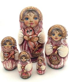 """Unique Russian Hand Carved Hand Painted Nesting DOLL """"Girl with a Cat"""" signed http://www.ebay.co.uk/"""