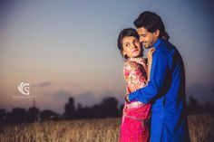 Fields during sunset are the best ideas to make an awesome pre-wed picture for couple getting married. The romantic pose of Indian Bride in Rajasthani Attire makes the image stand out. Check out more work for Wedding Inspiration for your Big Fat Desi Indian Wedding.