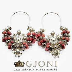 Croatian traditional earrings with corals - Split Traditional Earrings, Corals, Dubrovnik, Traditional Outfits, Croatia, Jewerly, Floral Wreath, Clothing, Silver