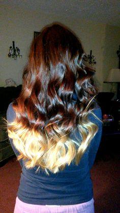 Auburn and blonde ombre.. DIY with Revlon medium auburn hair dye $5