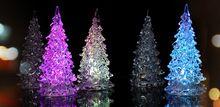 LED 7 farieb Zmena Akrylát Vianočný strom Night svetlo lampy Home Decor Gift (Čína (pevninská časť))