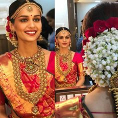 We love this gorgeous avatar of 2017 . Double tap if you love it too! Indian Bridal Outfits, Indian Wedding Jewelry, Pakistani Bridal Dresses, Wedding Necklaces, Bridal Jewellery, Diamond Jewellery, Kerala Bride, South Indian Bride, Bride Look