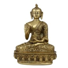 Amazon.com: Meditating Buddha Statue Figurine Buddhism, Kalash In Left Hand, Right Hand Blessing; Brass; 6 X 4 X 8.5 Inches: Furniture & Decor