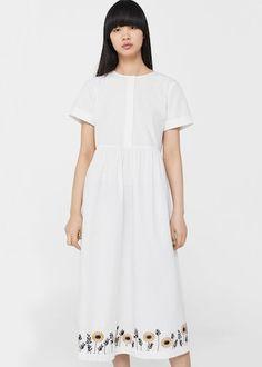 Bavlněné šaty s výšivkou - f foDlouhé Žena | MANGO Česká republika