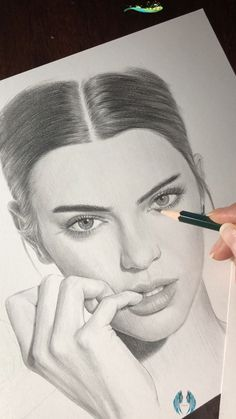 Pencil portrait of Kendall Jenner by Nadia Coolrista. Part 3 It's always imperfect until finished<br> Portrait Au Crayon, Pencil Portrait, Portrait Art, Pencil Art Drawings, Art Drawings Sketches, Disney Drawings, Drawing Disney, Face Drawings, Kendall Jenner