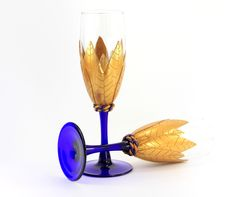 New Design! Blue and Gold Champagne Glasses, Flute Glasses, Blue Glass Champagne, Cobalt Blue Flute, Wedding Glasses, Wedding Flutes by HeathersWilde on Etsy