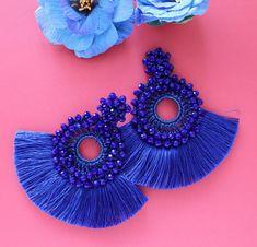Royal Blue Round Beaded Crochet Tassel Fringe Trim Hoop image 4