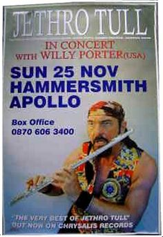 Music Posters, Concert Posters, Hammersmith Apollo, Jethro Tull, British Rock, Progressive Rock, Vintage Rock, Blues Rock, Family Dogs