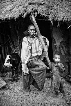 Mother and son from farmers village in Tigray, Ethiopia.