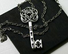 Skeleton Key Necklace in Antique Silver