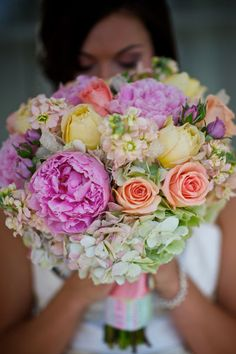 Multi-colored bridal bouquet, full lush bouquet, lavender peach pink yellow green wedding, flowers by Organic Elements, www.blissevent.com