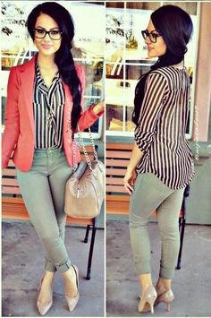 Coral blazer and olive pants Casual Work Attire, Business Casual Outfits, Professional Outfits, Business Attire, Jeans Outfit For Work, Work Attire Women, Business Chic, Business Professional, Office Attire