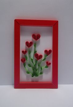 Quilled Valentine Card Heart bouquet by xARTinosCosmos on Etsy