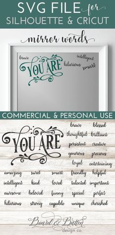 Encouraging Mirror Words SVG File set/bundle for SIlhouette & Cricut cutting machines. Includes DXF, EPS, and PNG files as well as small business commercial license. Silhouette School Blog, Silhouette Cameo Projects, Cricut Fonts, Cricut Vinyl, Cricut Air, Vinyl Decals, Harry Potter Logo, Mirror Words, Mirror Mirror