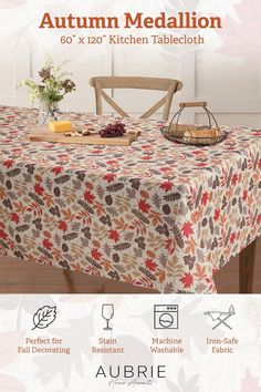 Dress your table for autumn with the Autumn Medallion tablecloth from Aubrie Home Accents. This decorative seasonal tablecloth features an all-over design of falling leaves in red, orange, and brown… More