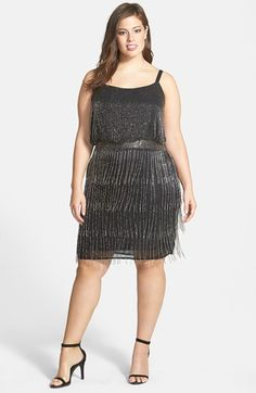 1920s Style Plus Size Flapper Dress -Plus Size Women's Adrianna Papell Beaded Fringe Cocktail Dress