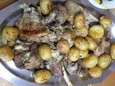 """Psito pronounciation """"psee-TOH"""" is roasted meat cooked in the oven. It could be made with lamb or goat and it is the perfect Sunday meal. Goat Recipes, Sunday Recipes, Greek Recipes, Goat Meat, Baby Potatoes, Goat Farming, Roasted Meat, Sunday Roast, Meat Chickens"""