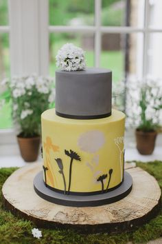 Yellow and grey cake