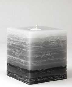 "4"" square candle in the Shades of Gray style"